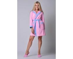 Халат женский с капюшоном розовый с голубой окантовкой