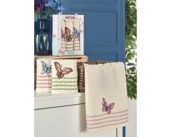 Набор вафельных полотенец Бабочки 3 шт