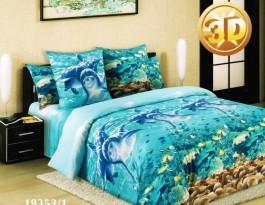 Комплект Дельфины 2,0 спальный с евро простыней