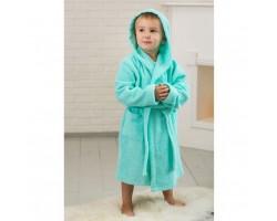 Детский махровый халат с капюшоном морская волна