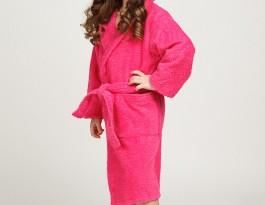 Детский махровый халат с капюшоном малиновый
