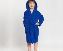 Детский махровый халат с капюшоном синий