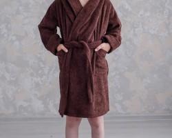 Детский махровый халат с капюшоном коричневый