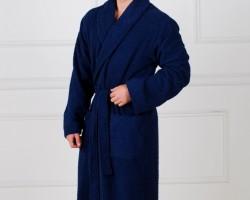 Халат мужской жаккардовый синий и коричневый