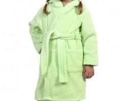 Детский махровый халат с капюшоном салатовый