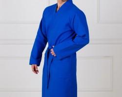 Халат мужской вафельный синий