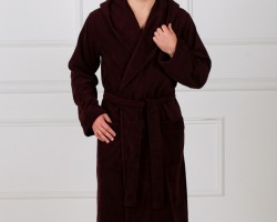 Халат мужской с капюшоном коричневый