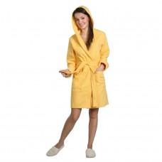 Халат женский с капюшоном желтый