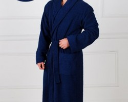 Халат мужской жаккардовый синий