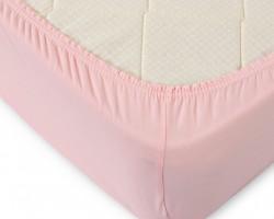 Простыня трикотажная розовая 90x200x20